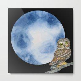 Halloween Night_Owl and Full Moon Metal Print