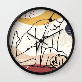 Sex in nature, erotic intimate moments in line art style, sex poses set, kamasutra poster print Wall Clock