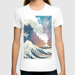 Great Wave Off Kanagawa Surrealism-Mount Fuji Eruption and Starry Sky T-shirt