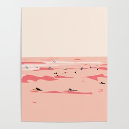 Sunset Tiny Surfers in Lima Illustrated Poster