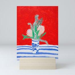 Protea Still Life in Red and Delft Blue Mini Art Print