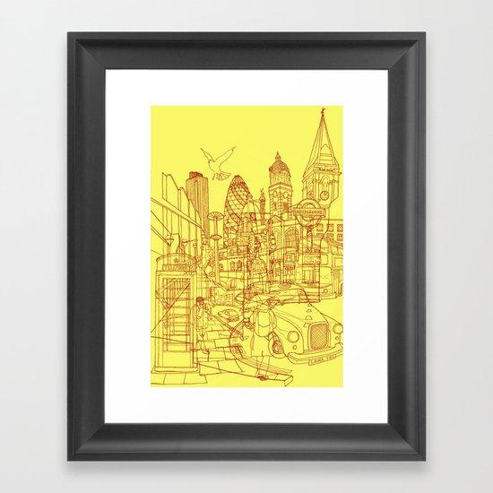 London! Yellow/Red Framed Art Print