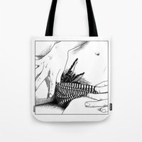 apollonia Tote Bags featuring asc 472 - L'heure du repas (Feeding time) by From Apollonia with Love