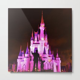 Cinderella's Castle featuring the statues of Walt & Mickey at the end of main street USA Metal Print