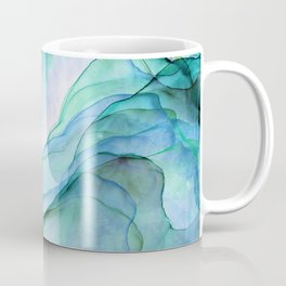 Aqua Turquoise Teal Abstract Ink Painting Coffee Mug
