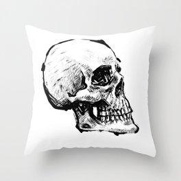 SKULL 01 INK Throw Pillow