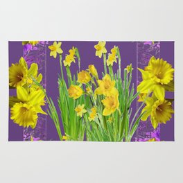 DAFFODIL SPRING GARDEN & PURPLE  DESIGN ART Rug
