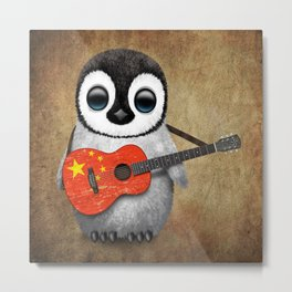 Baby Penguin Playing Chinese Flag Acoustic Guitar Metal Print