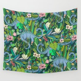 Improbable Botanical with Dinosaurs - dark green Wall Tapestry