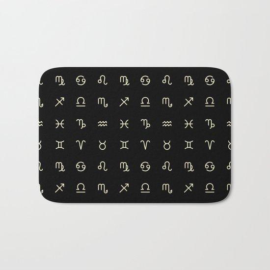 Zodiac Symbols - Black Bath Mat