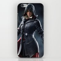 assassins creed iPhone & iPod Skins featuring Female Assassins Creed by Tom Lee