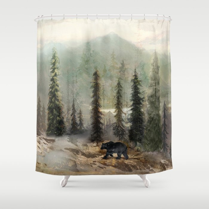 Mountain Black Bear Shower Curtain