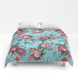 King protea flowers watercolor illustration Comforters