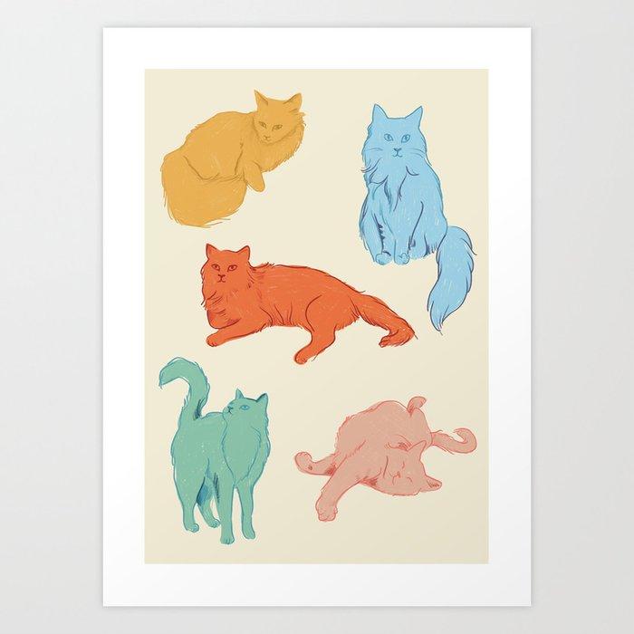 Cattitude - Cat illustration print Kunstdrucke