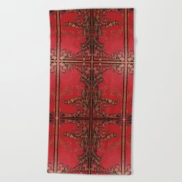 Red and Gold Thistles Beach Towel