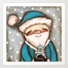 Blue Santa - by Diane Duda Art Print