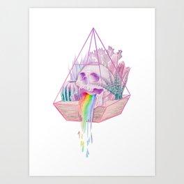 Rainbow Skull Succulent Crystal Garden Art Print