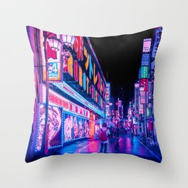 Neon Drip Throw Pillow
