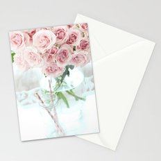 Shabby Chic Cottage Vintage Pink Pastel Roses In Clear Vase Prints and Home Decor Stationery Cards