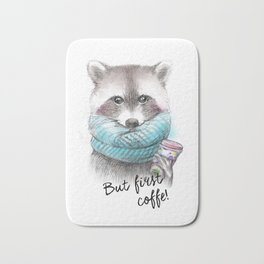 raccoon pencil and watercolor illustration Bath Mat