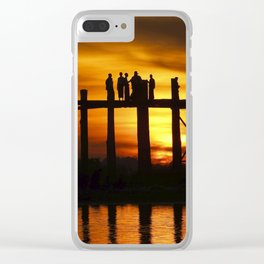 Sunset at U Bein Bridge, Myanmar Clear iPhone Case
