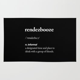Rendezbooze black and white contemporary minimalism typography design home wall decor black-white Rug