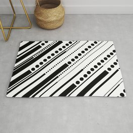 Dashes & Dots - Black on White Rug