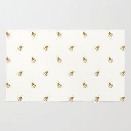 Gold Watercolour Bee Print Rug