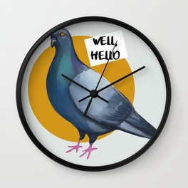 Pigeon Well hello trash dove Wall Clock
