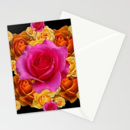 GOLD-YELLOW & PINK ROSES ON BLACK Stationery Cards