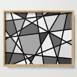 Triangels Geometric Lines dark grey  - grey - white Serving Tray