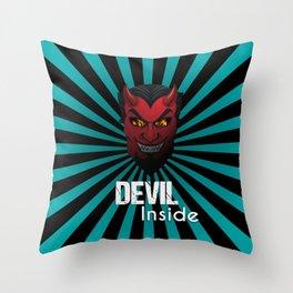 Devil Inside Mask Throw Pillow