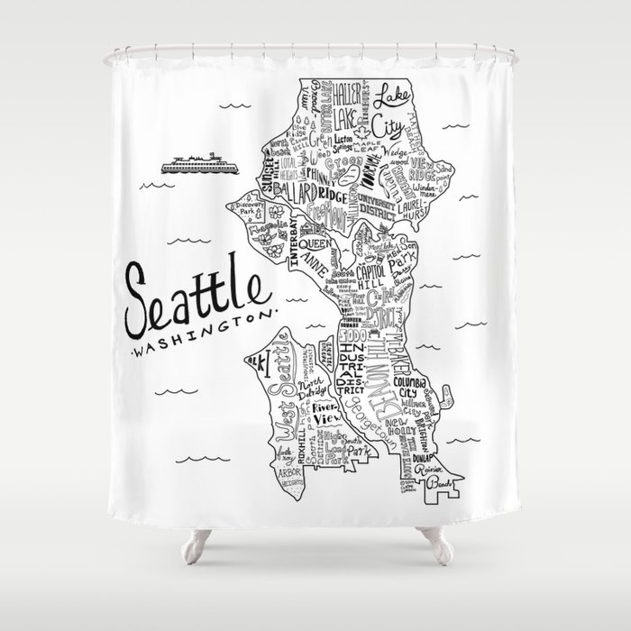 Seattle Map Shower Curtain by clairelordon Society6