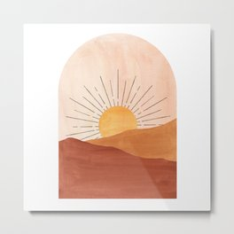 Abstract terracotta landscape, sun and desert Metal Print