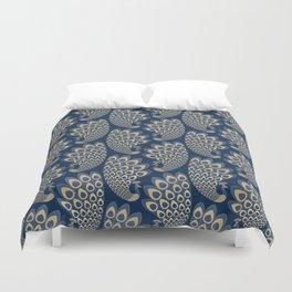 Blue and Gold Art Deco Peakock Duvet Cover