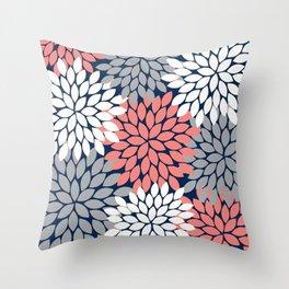 Flower Burst Petals Floral Pattern Navy Coral Gray Throw Pillow