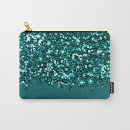 Sparkly Glam Dark Teal Glitter Gradient Collection Carry-All Pouch