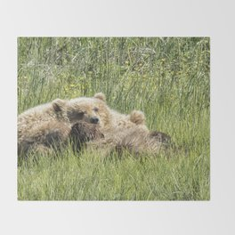 Counting Salmon - Bear Cubs, No. 3 Throw Blanket