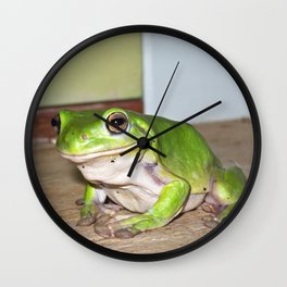 Freddy frog waiting for dinner Wall Clock