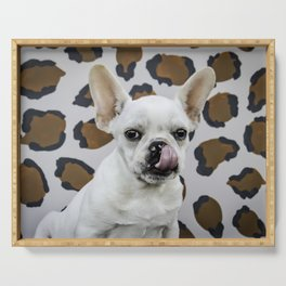 White French Bulldog Puppy Licking His Nose in front of Brown Leopard Print Background Serving Tray