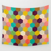 hexagon Wall Tapestries featuring Fun Hexagon by Louise Machado