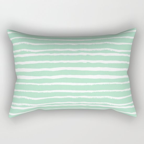 Mint stripes painted stripe pattern minimal nursery gender neutral Rectangular Pillow