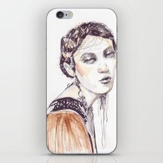 Fashion illustration with golden watercolors iPhone & iPod Skin