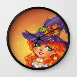 Halloween Witch Chibi Wall Clock