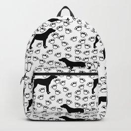 Big Black Dog and Paw Prints Backpack