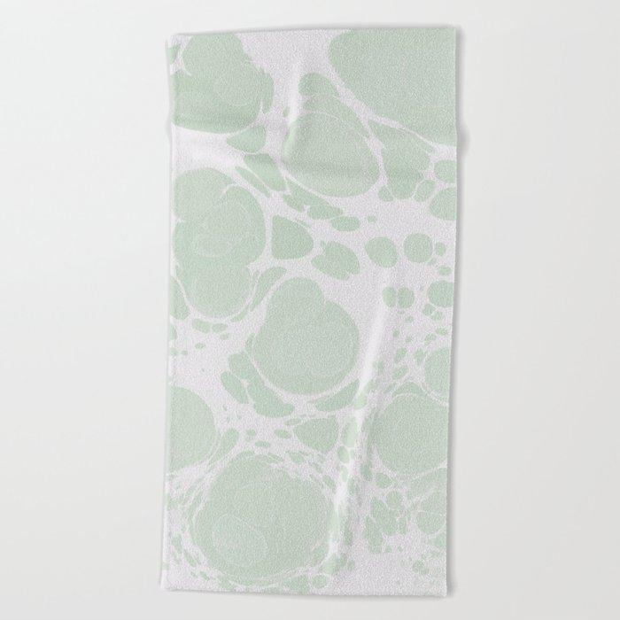 Ebru Paper Marbling Pastel Green Paint Spill Bubbles Beach Towel
