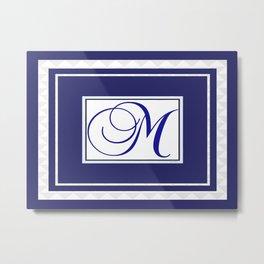 MONOGRAM M BLUE EMBLEM Design Pattern Metal Print