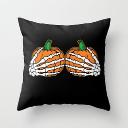 Funny Costume Pumpkin Skelet Boobs Throw Pillow