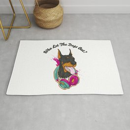 Doberman Dj, who let the dogs out? Big dog lovers gift. Rug