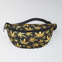 Black Gold Weed Pattern Fanny Pack